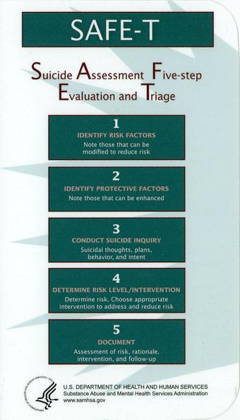 Safe T Pocket Card Suicide Assessment Five Step Evaluation And