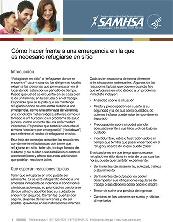 How To Cope With Sheltering In Place Spanish Samhsa