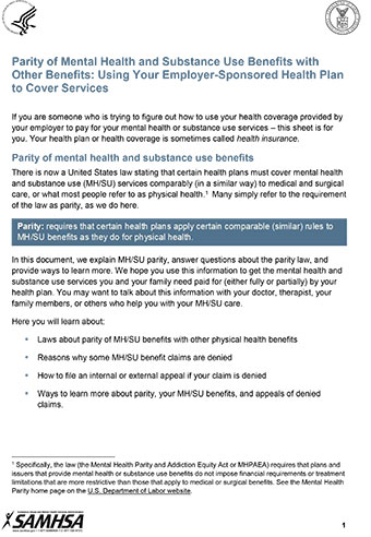 Parity Of Mental Health And Substance Use Benefits With Other