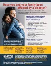 Have You and Your Family Been Affected by a Disaster? Poster pertaining to youth and child reactions