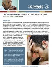 Tips for Survivors of a Disaster or Other Traumatic Event: Coping with Retraumatization