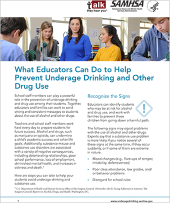 Talk. They Hear You: What Educators Can Do to Help Prevent Underage Drinking and Other Drug Use – Fact Sheet