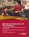 Cover image for Talk. They Hear You: Before He Kicks Dad Off the Console… Print Public Service Announcement – Flyer