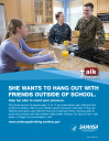 Cover image for Talk. They Hear You: She Wants to Hang Out with Friends Outside of School Print Public Service Announcement – Flyer (Military)