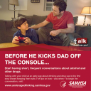 Cover image for Talk. They Hear You: Before He Kicks Dad Off the Console… Print Public Service Announcement – Wallet Card