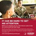 Cover image for Talk. They Hear You: It Can Be Hard to Get His Attention Print Public Service Announcement – Wallet Card (Military)